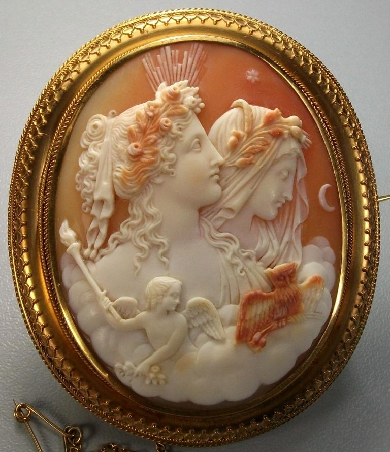 Antique Cameos Cameo Old Victorian Shell Coral And