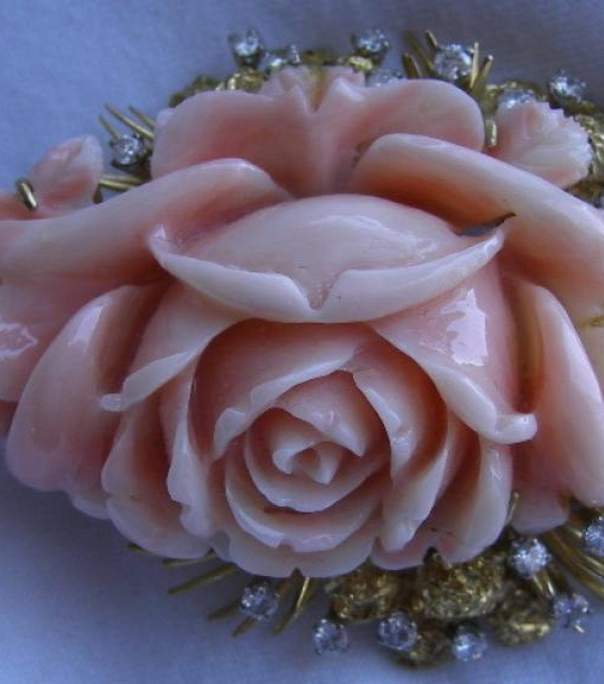 Diamonds and Coral Rose Brooch