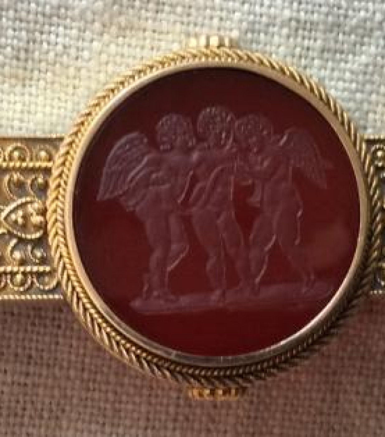 Rarest Hard Stone Cameo of the Three Genii of Music Singing