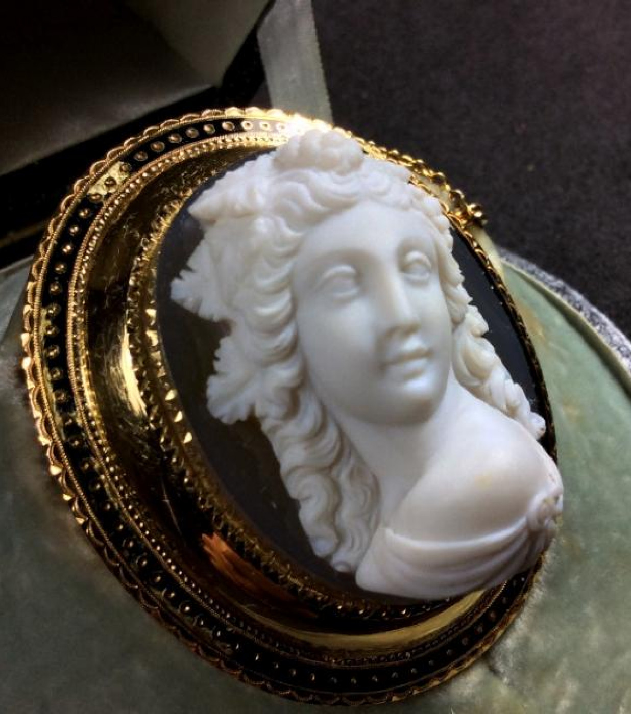 Outstanding Hard Stone Cameo of a Front Face Bacchante