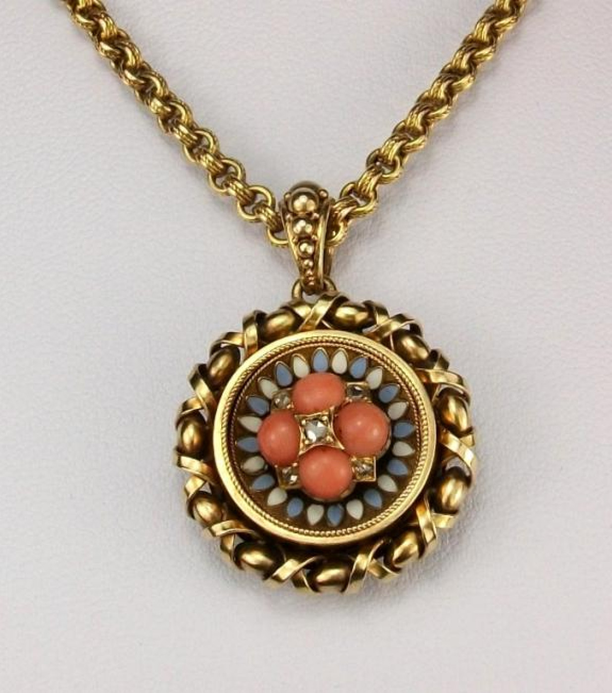 Victorian Coral and Diamonds Pendant