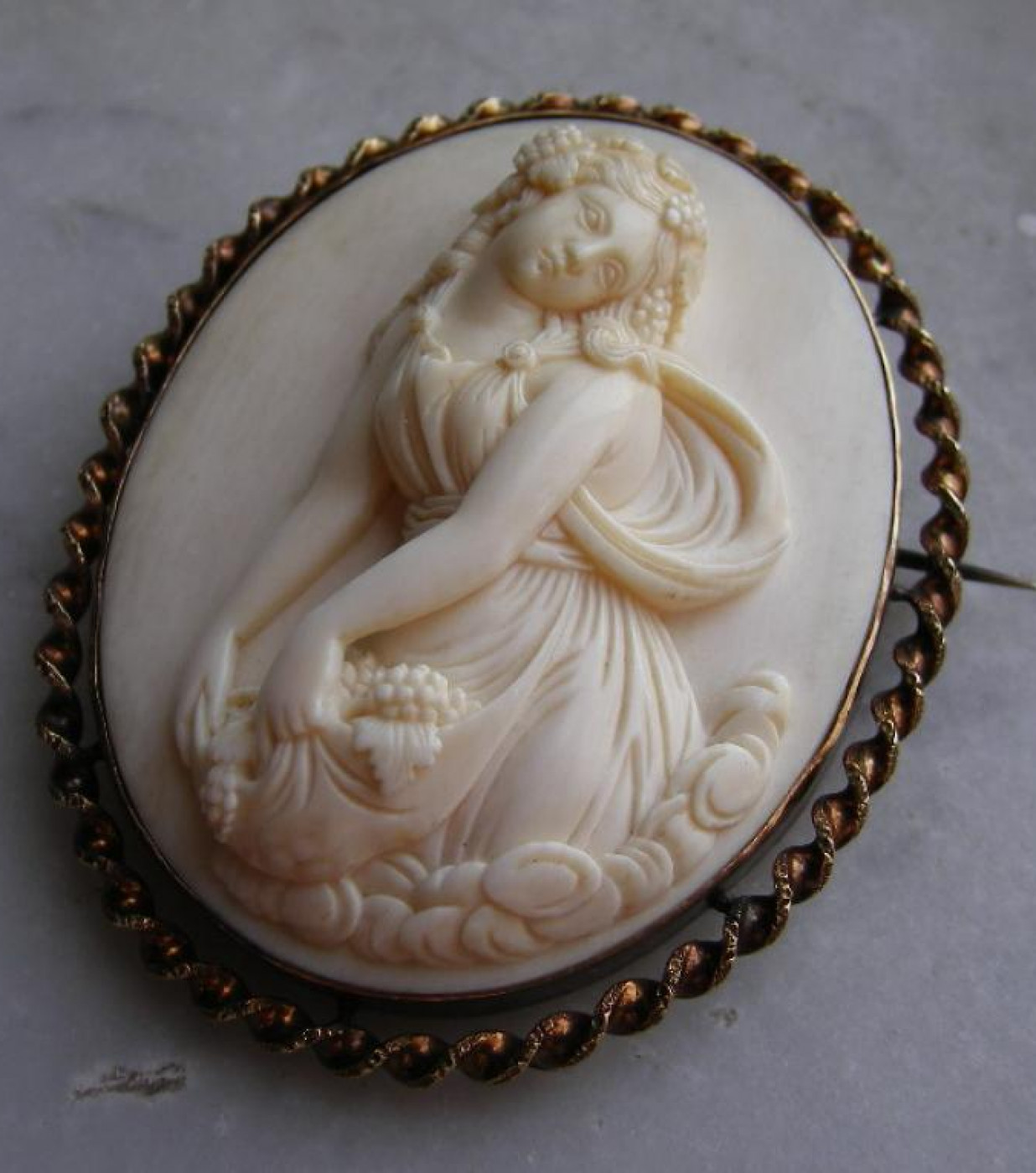 Ivory Cameo of a Bacchante