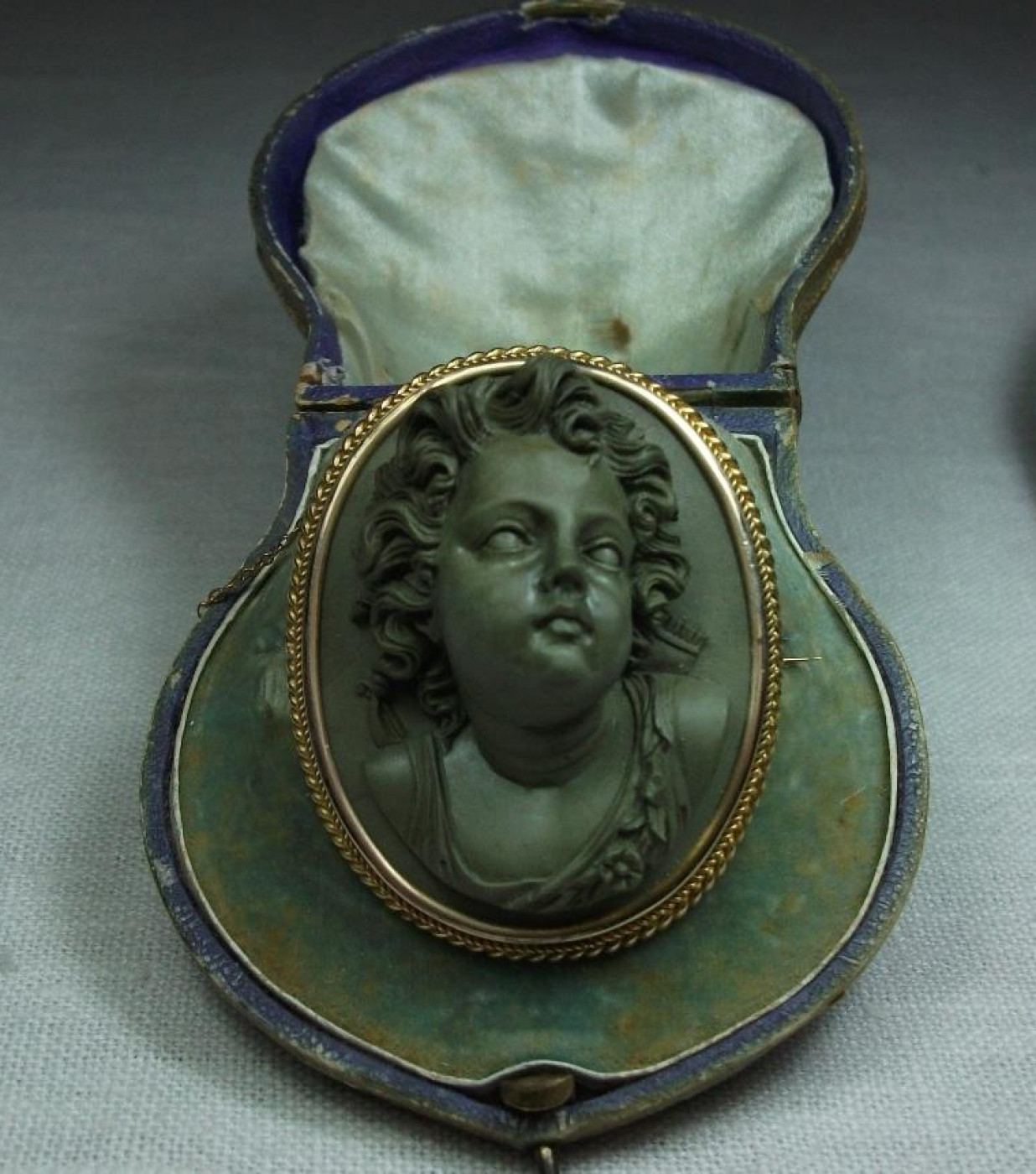 Fabulous Front Face Lava Cameo of Cupid